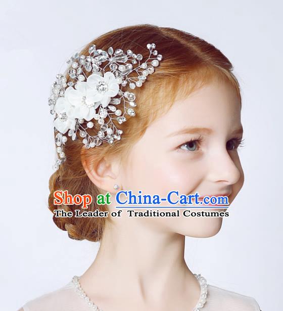 af44d9cad6878 Handmade Children Hair Accessories White Flowers Hair Stick ...
