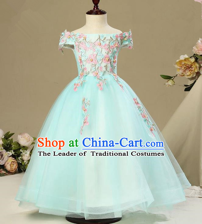 Children Christmas Model Show Dance Costume Embroidered Green Dress, Ceremonial Occasions Catwalks Princess Off Shoulder Full Dress for Girls