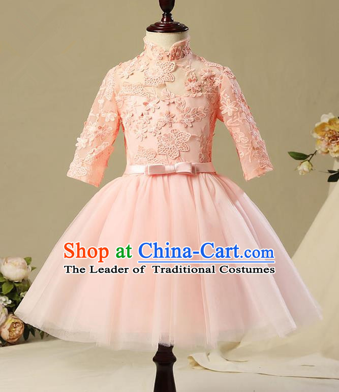 Children Model Show Dance Costume Pink Lace Short Dress, Ceremonial Occasions Catwalks Princess Full Dress for Girls