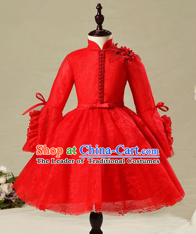 Children Model Show Dance Costume Red Veil Dress, Ceremonial Occasions Catwalks Princess Full Dress for Girls