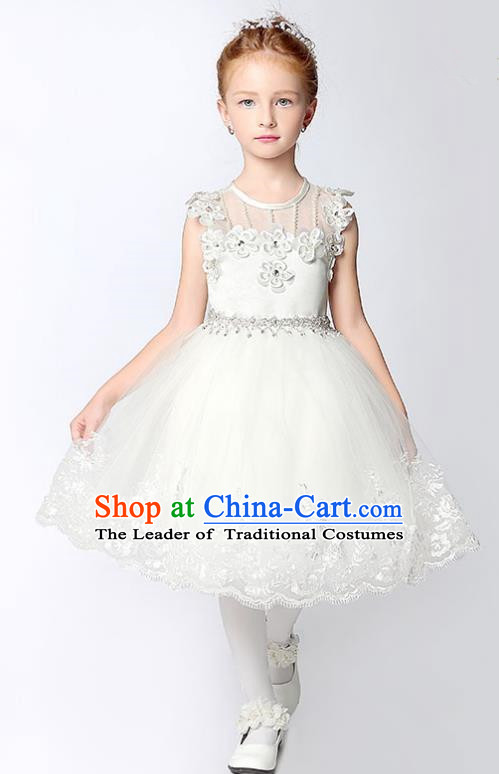 Children Model Show Dance Costume White Veil Short Dress, Ceremonial Occasions Catwalks Princess Full Dress for Girls