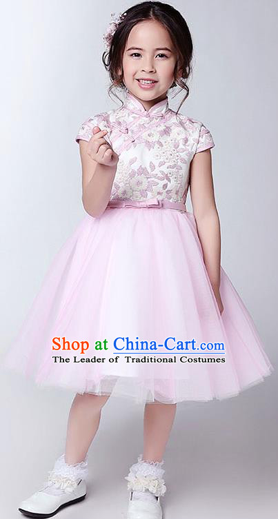 Children Model Show Dance Costume Pink Plated Buttons Cheongsam, Ceremonial Occasions Catwalks Princess Veil Dress for Girls