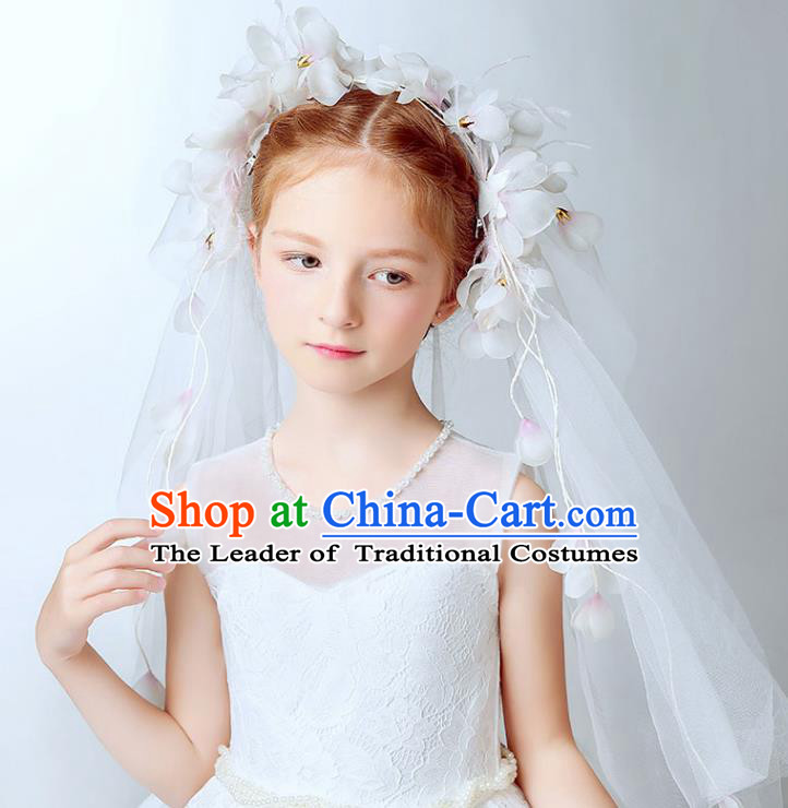 Handmade Children Hair Accessories Flowers Head Bridal Veil, Princess Halloween Model Show Hair Clasp Headwear for Kids