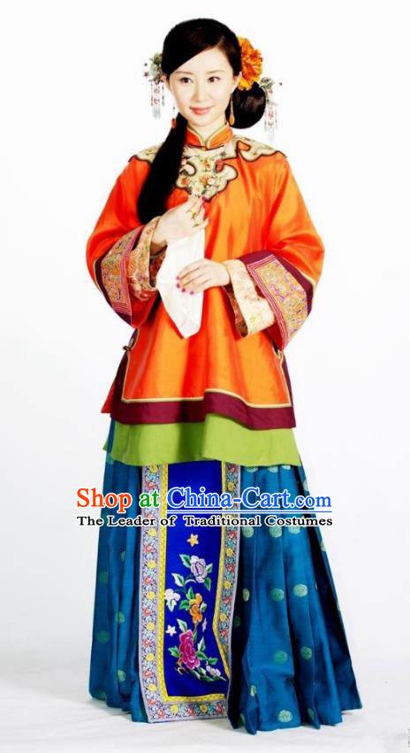 Asian Chinese Qing Dynasty Traditional Manchu Nobility Lady Embroidered Costume and Handmade Headpiece Complete Set