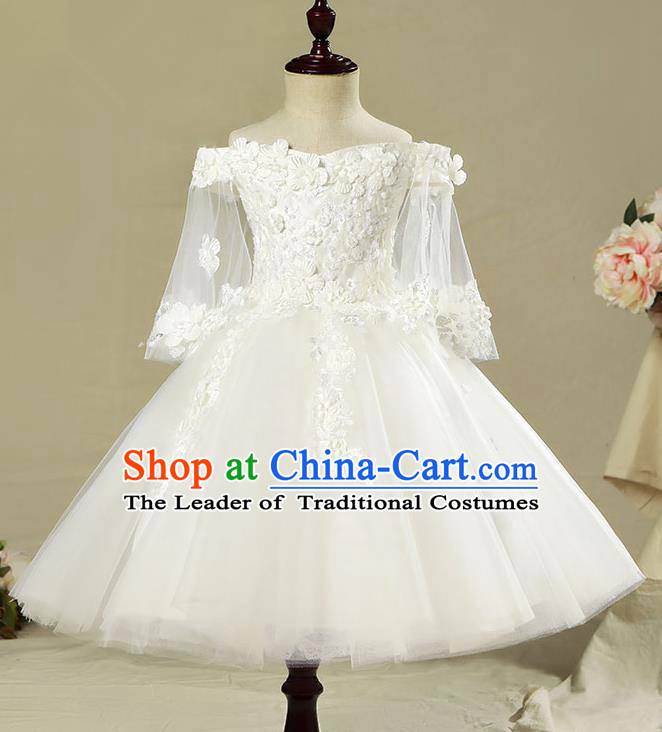 Children Model Show Dance Costume Off Shoulder Veil Dress, Ceremonial Occasions Catwalks Princess Full Dress for Girls