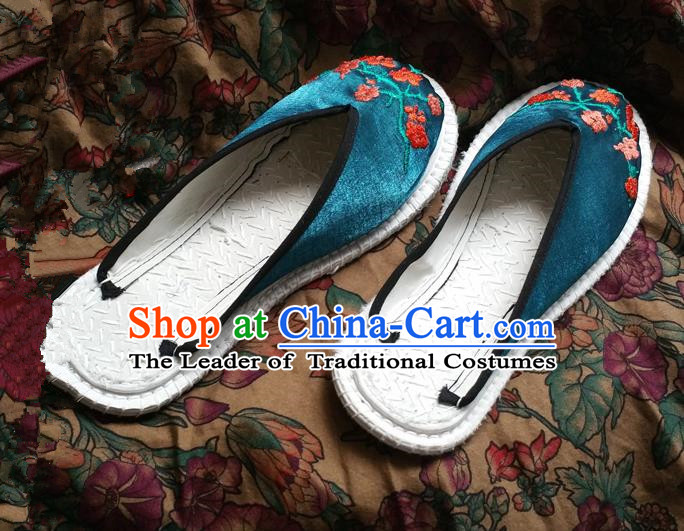 Asian Chinese Shoes Wedding Shoes Green Embroidered Slippers, Traditional China Opera Shoes Hanfu Shoes Embroidered Shoes