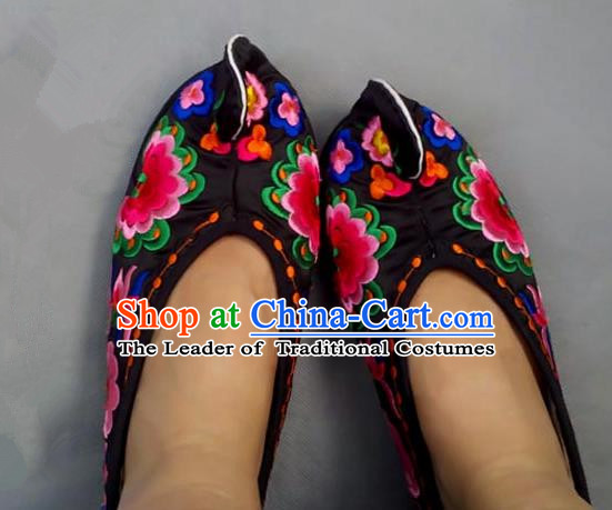 Asian Chinese Shoes Wedding Shoes Handmade Black Embroidered Shoes, Traditional China Princess Shoes Hanfu Become Warped Head Shoe for Women