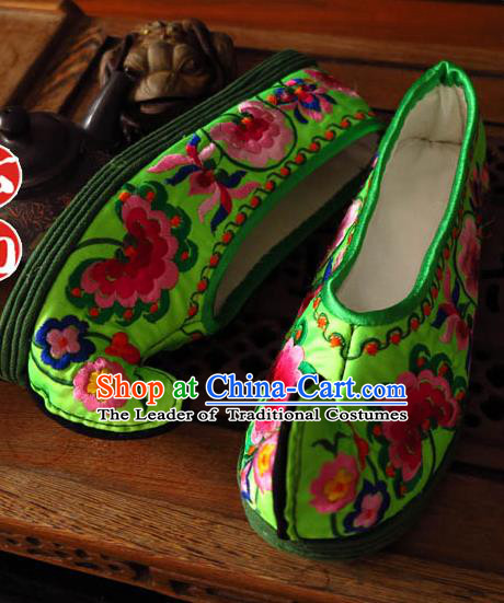 Asian Chinese Shoes Wedding Shoes Handmade Green Embroidered Shoes, Traditional China Princess Shoes Hanfu Become Warped Head Shoe for Women