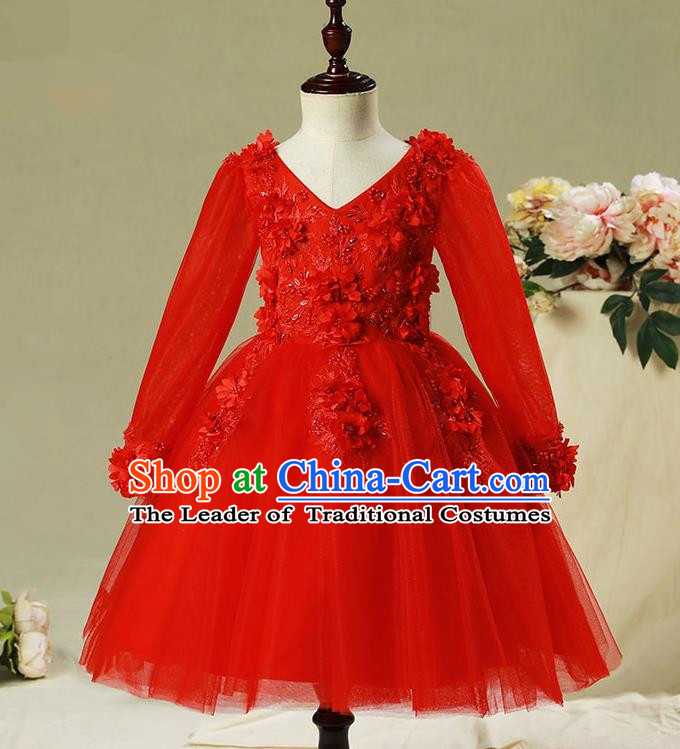 Children Modern Dance Costume Compere Red Veil Embroidery Evening Dress Princess Bubble Dress for Girls