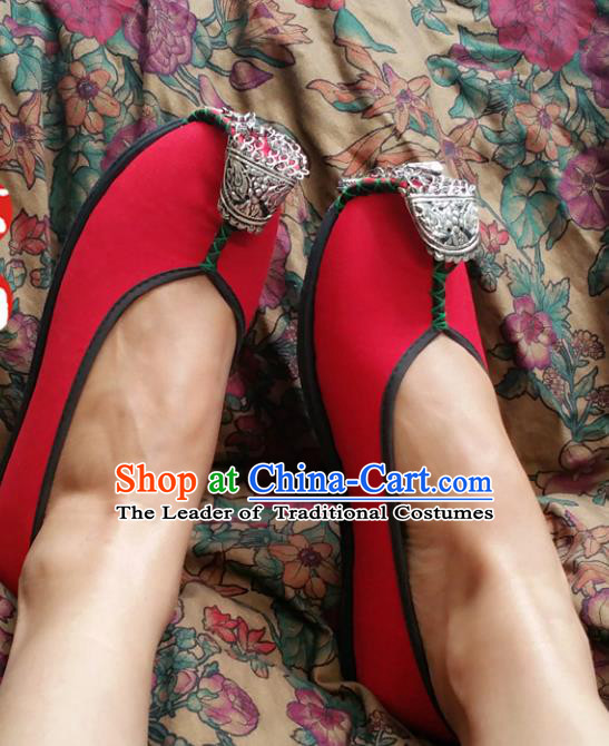 Asian Chinese National Wedding Red Shoes, Traditional China Princess Handmade Shoes Hanfu Shoe for Women