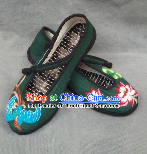 Asian Chinese National Green Embroidered Shoes, Traditional China Princess Handmade Shoes Hanfu Embroidery Lotus Shoe for Women