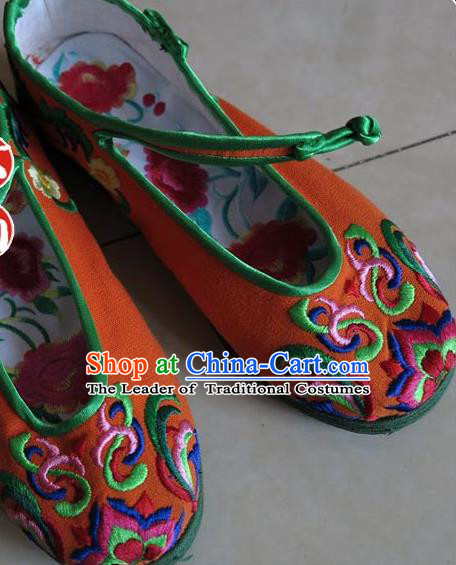 Asian Chinese Martial Arts Shoes Wedding Shoes Handmade Orange Embroidered Shoes, Traditional China Princess Shoes Hanfu Shoe for Women