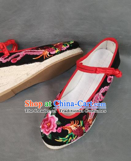 Asian Chinese National Embroidered Shoes, Traditional China Handmade Shoes Hanfu Embroidery Phoenix Peony Black Shoe for Women