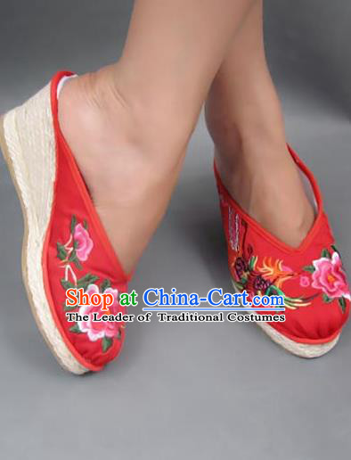 Traditional Chinese National Red Wedding Wedge Heel Shoes Embroidered Shoes, China Handmade Shoes Hanfu Embroidery Peony Shoes for Women