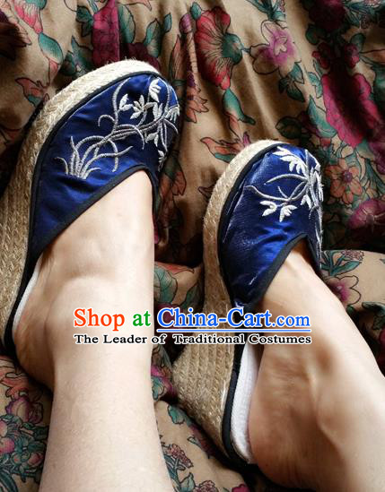 Traditional Chinese National Blue Wedge Heel Shoes Embroidered Shoes, China Handmade Shoes Hanfu Embroidery Orchid Shoes for Women