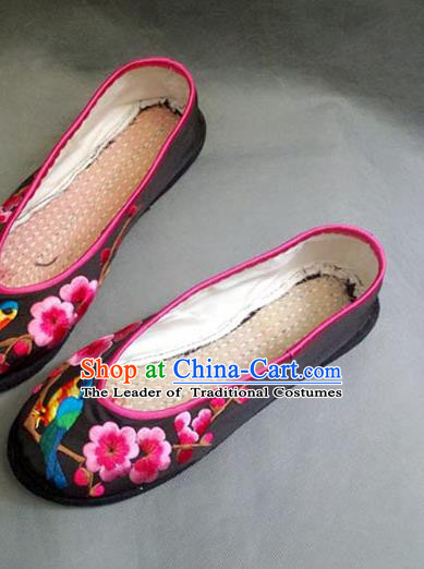 663a145b049844 Traditional Chinese National Black Silk Shoes Embroidered Shoes