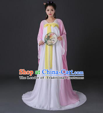 Asian China Ancient Tang Dynasty Palace Lady Costume, Traditional Chinese Princess Hanfu Embroidered Pink Dress Clothing for Women