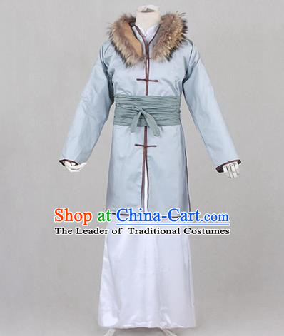 Traditional Ancient Chinese Costume, Asian Chinese Han Dynasty Scholar Embroidered Clothing for Men