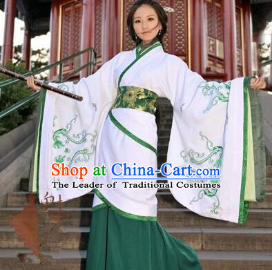 Asian China Ancient Han Dynasty Palace Lady Costume, Traditional Chinese Hanfu Imperial Consort Embroidered White Curve Bottom Clothing for Women