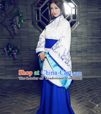 Asian China Ancient Han Dynasty Palace Lady Costume, Traditional Chinese Hanfu Imperial Consort Embroidered Curve Bottom Clothing for Women