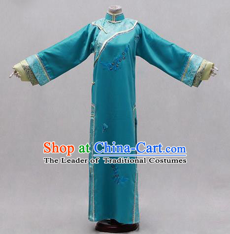 Traditional Ancient Chinese Manchu Palace Lady Costume, Asian Chinese Qing Dynasty Princess Embroidered Blue Dress Clothing for Women