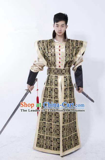 Traditional Ancient Chinese Swordsman Costume, Asian Chinese Ming Dynasty General Clothing for Men