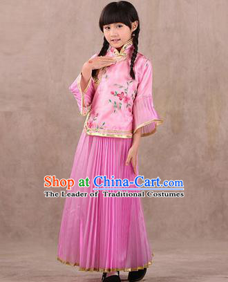 Traditional Ancient Chinese Republic of China Children Embroidered Costume, Asian Chinese Embroidered Pink Xiuhe Suit Clothing for Kids