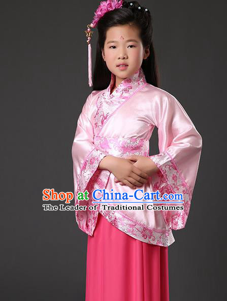 Asian China Ancient Han Dynasty Palace Lady Costume, Traditional Chinese Hanfu Embroidered Pink Curve Bottom Clothing for Kids