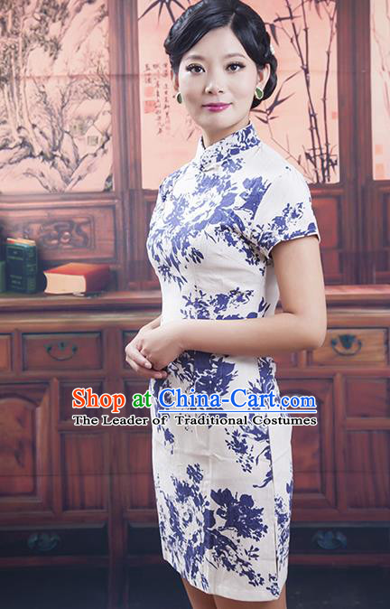 Traditional Ancient Chinese Republic of China Cheongsam, Asian Chinese Chirpaur Blue and White Porcelain Silk Qipao Dress Clothing for Women