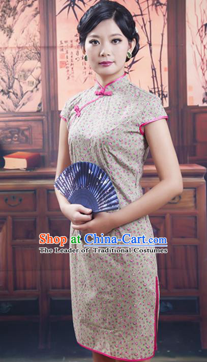 Traditional Ancient Chinese Republic of China Cheongsam, Asian Chinese Chirpaur Short Qipao Dress Clothing for Women