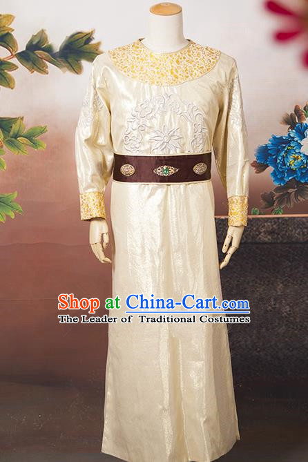 Asian China Ancient Tang Dynasty Swordsman Costume, Traditional Chinese Minister Hanfu Embroidered Golden Clothing for Men