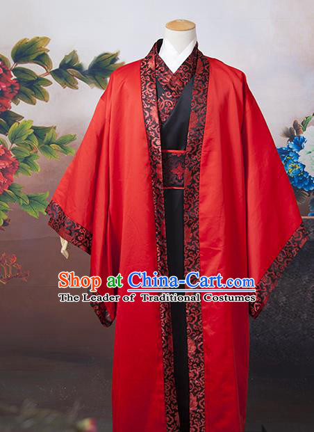 Asian China Ancient Tang Dynasty Wedding Costume, Traditional Chinese Bridegroom Hanfu Embroidered Red Clothing for Men