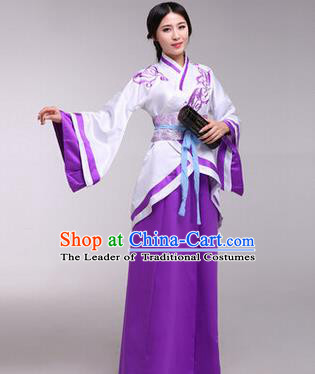 Traditional Ancient Chinese Imperial Consort Costume, Elegant Hanfu Chinese Han Dynasty Imperial Empress Purple Embroidered Clothing for Women