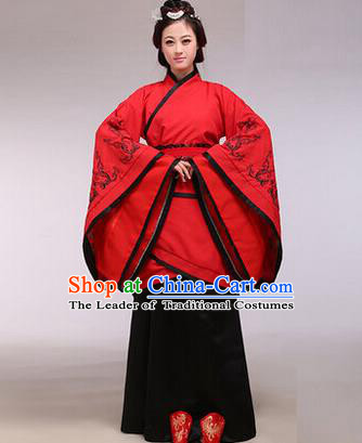 Traditional Ancient Chinese Imperial Consort Costume, Elegant Hanfu Chinese Han Dynasty Imperial Empress Red Embroidered Clothing for Women