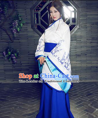 Traditional Ancient Chinese Imperial Consort Costume, Elegant Hanfu Chinese Han Dynasty Imperial Empress Blue Embroidered Clothing for Women