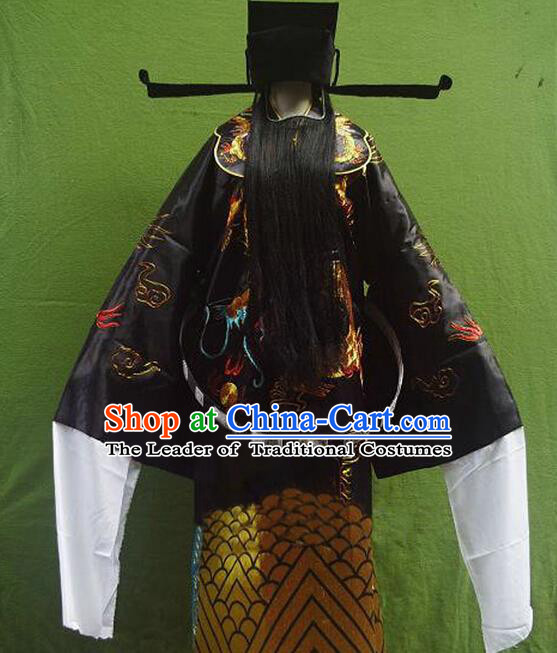 Traditional Chinese Peking Opera Bao Zheng Costume Embroidered Robe, China Ancient Beijing Opera Black Gwanbok for Men