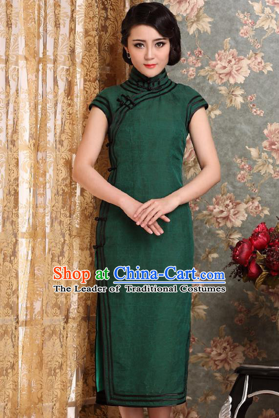 Traditional Chinese National Costume Elegant Hanfu Green Cheongsam, China Tang Suit Plated Buttons Chirpaur Dress for Women