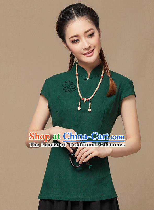 Traditional Chinese National Costume Elegant Hanfu Plated Button Deep Green Shirt, China Tang Suit Slant Opening Blouse Cheongsam Upper Outer Garment for Women