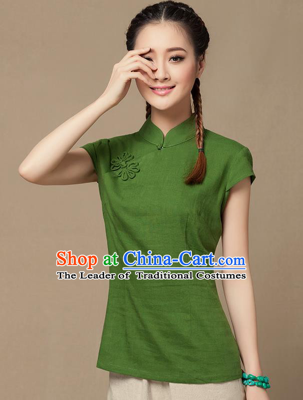 Traditional Chinese National Costume Elegant Hanfu Plated Button Green Shirt, China Tang Suit Slant Opening Blouse Cheongsam Upper Outer Garment for Women