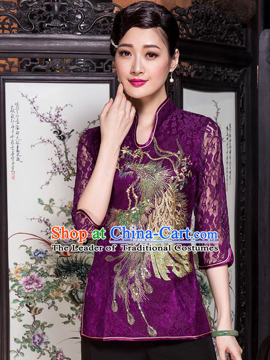 Traditional Chinese National Costume Elegant Hanfu Embroidery Peacock Purple Shirt, China Tang Suit Blouse Cheongsam Upper Outer Garment for Women