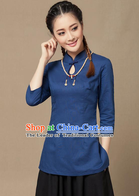 Traditional Chinese National Costume Elegant Hanfu Plated Button Navy Linen Shirt, China Tang Suit Slant Opening Upper Outer Garment Cheongsam Blouse for Women
