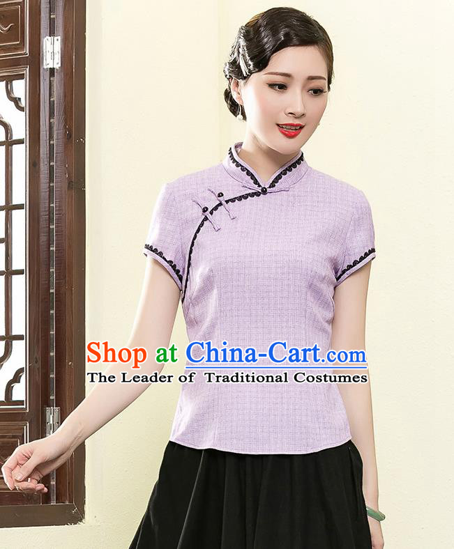 Traditional Chinese National Costume Elegant Hanfu Plated Button Lilac Shirt, China Tang Suit Upper Outer Garment Cheongsam Blouse for Women
