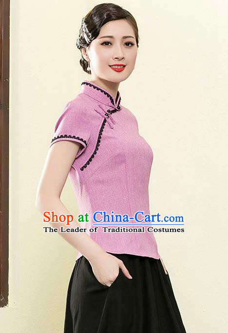 Traditional Chinese National Costume Elegant Hanfu Plated Button Pink Shirt, China Tang Suit Upper Outer Garment Cheongsam Blouse for Women