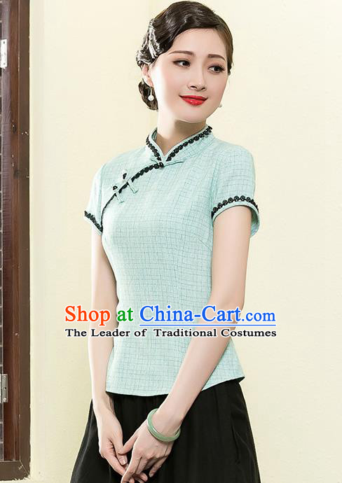 Traditional Chinese National Costume Elegant Hanfu Plated Button Green Shirt, China Tang Suit Upper Outer Garment Cheongsam Blouse for Women
