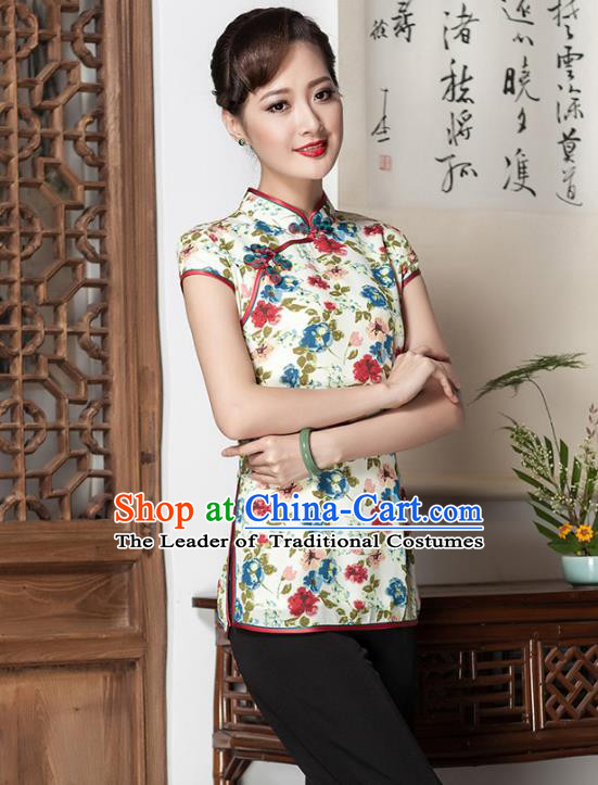Traditional Chinese National Costume Elegant Hanfu Plated Button Printing White Shirt, China Tang Suit Upper Outer Garment Cheongsam Blouse for Women
