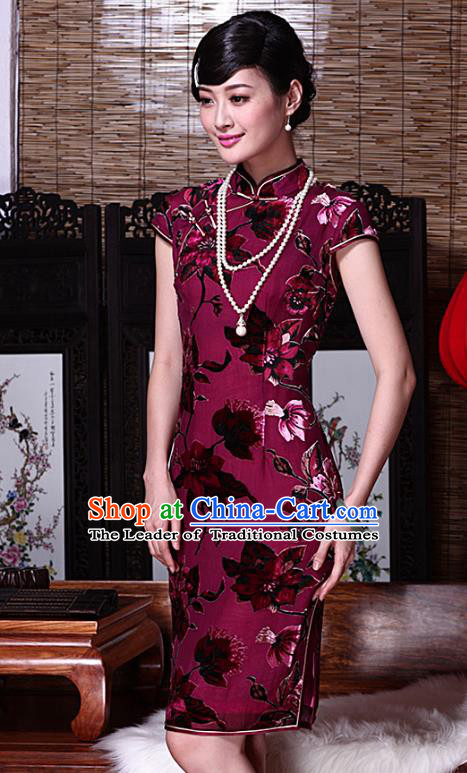 Traditional Chinese National Costume Elegant Hanfu Rosy Velour Cheongsam, China Tang Suit Plated Buttons Wedding Chirpaur Dress for Women