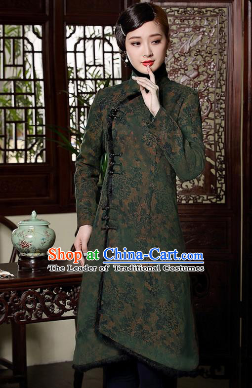 Traditional Chinese National Costume Elegant Hanfu Cheongsam, China Tang Suit Plated Buttons Chirpaur Cotton-padded Coat for Women