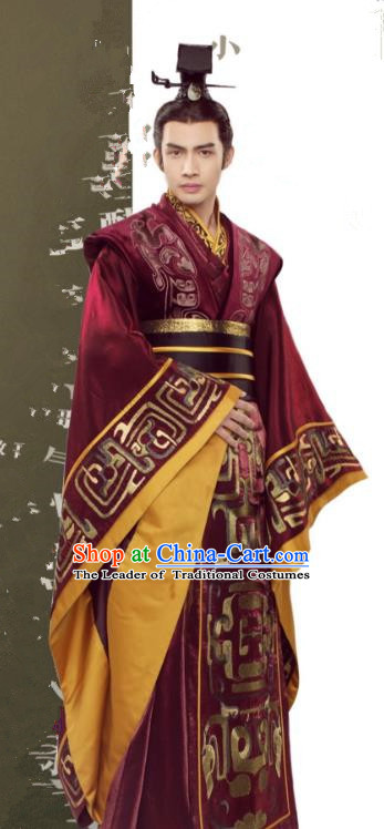 eade8a9ed Asian China First Emperor of Qin Dynasty Costume, Traditional Chinese  Ancient King Embroidered Clothing for Men