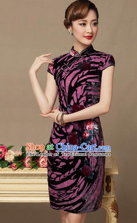 Traditional Chinese National Costume Elegant Hanfu Purple Velvet Cheongsam, China Tang Suit Plated Buttons Chirpaur Dress for Women