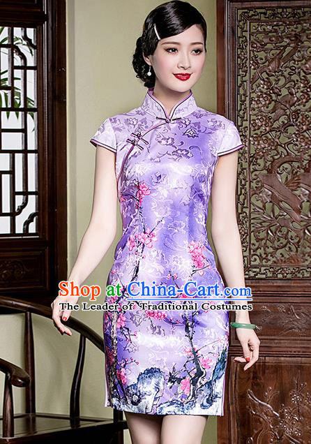 Traditional Chinese National Costume Elegant Hanfu Purple Printing Peach Blossom Cheongsam, China Tang Suit Plated Buttons Qipao Chirpaur Dress for Women